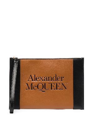 Alexander McQueen Signature logo-embossed clutch bag