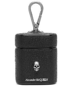 Alexander McQueen skull charm leather AirPods case