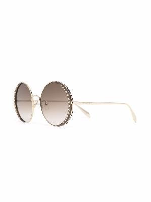 Alexander McQueen stud-embellished round-frame sunglasses