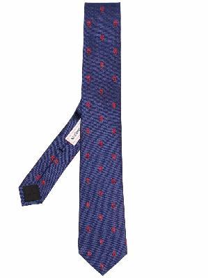 Alexander McQueen Skull embroidered silk tie