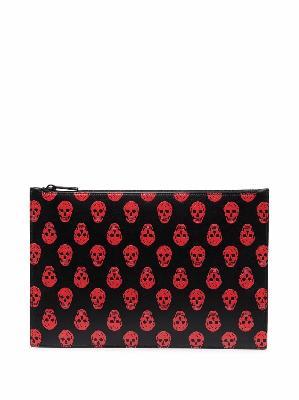 Alexander McQueen skull-print leather clutch bag