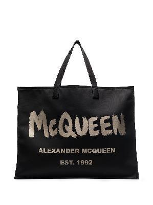 Alexander McQueen Graffiti logo tote