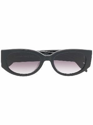 Alexander McQueen oval-frame logo-print sunglasses