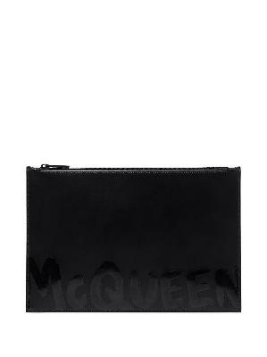 Alexander McQueen Graffiti logo-print clutch bag