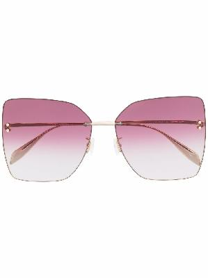 Alexander McQueen square-frame pink-tinted sunglasses