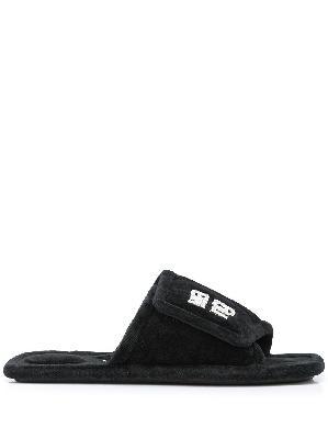 Alexander Wang Lana crystal logo slippers