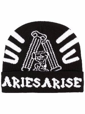 Aries intarsia-knit logo beanie