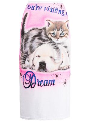Ashley Williams kitten puppy- print skirt