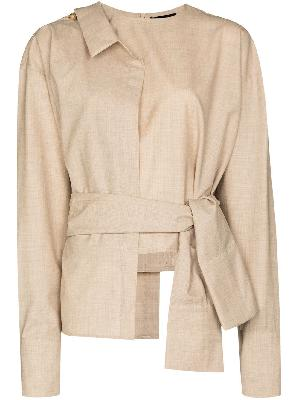 A.W.A.K.E. Mode asymmetric belted waist blouse