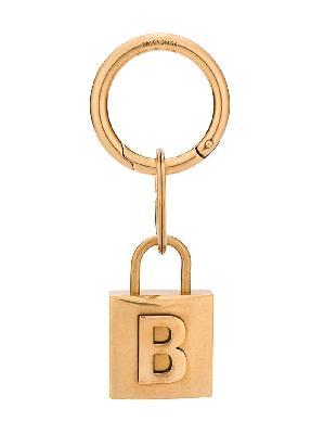 Balenciaga engraved logo lock keyring