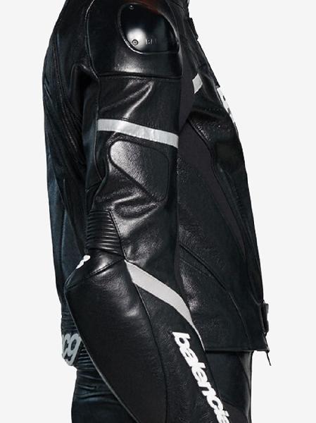 Balenciaga logo-print leather biker jacket