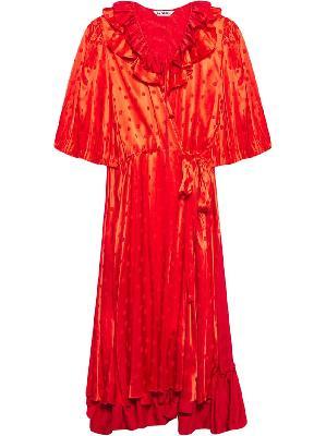 Balenciaga ruffle polka-dot wrap dress