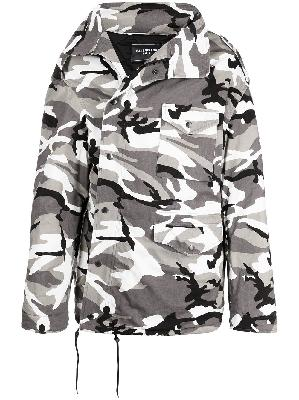 Balenciaga off-shoulder camouflage-print military parka coat
