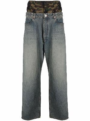 Balenciaga layered wide-leg jeans