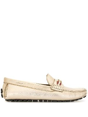 Bally metallic leather loafers