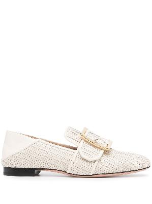 Bally Janelle buckled woven leather loafers