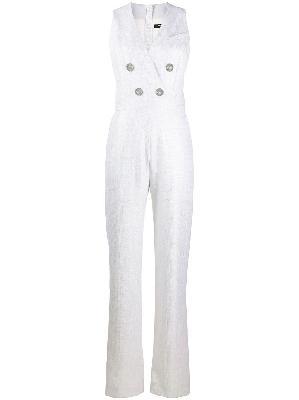 Balmain double breasted sleeveless lurex jumpsuit