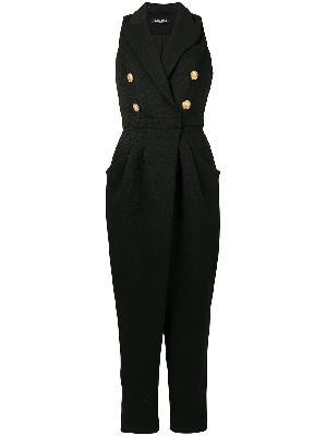 Balmain shawl lapel sleeveless jumpsuit