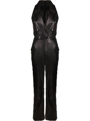Balmain double-breasted leather jumpsuit