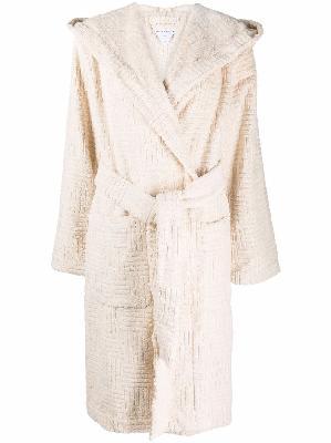 Bottega Veneta Intrecciato-pattern flocked belted robe