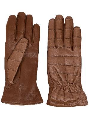 Bottega Veneta crocodile-effect embossed gloves