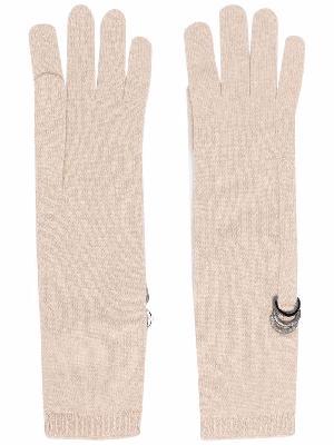 Brunello Cucinelli ring-embellished knitted gloves