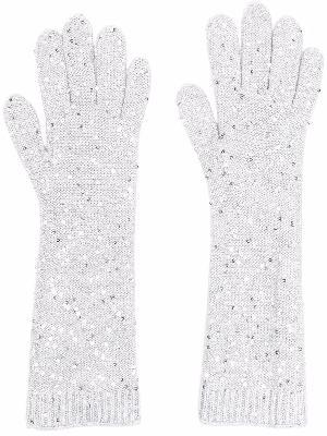 Brunello Cucinelli embellished knit gloves