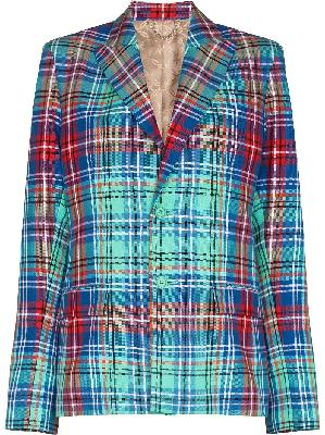 Charles Jeffrey Loverboy single-breasted tartan blazer