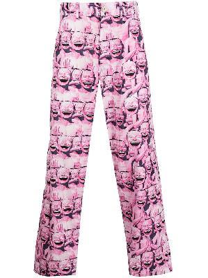 Comme Des Garçons Shirt Yue Minjun graphic-print trousers