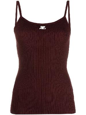 Courrèges logo print ribbed knit top