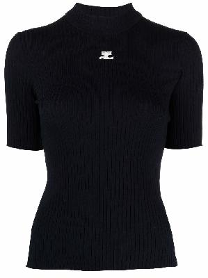 Courrèges ribbed knit short-sleeved top