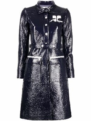 Courrèges logo-patch trench coat