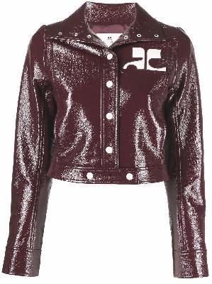 Courrèges cropped faux-leather jacket