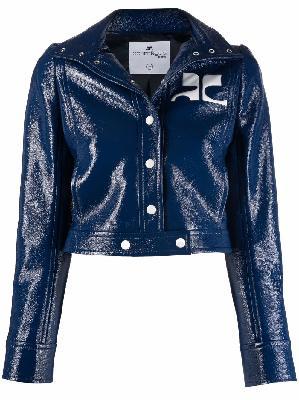 Courrèges cropped coated logo jacket