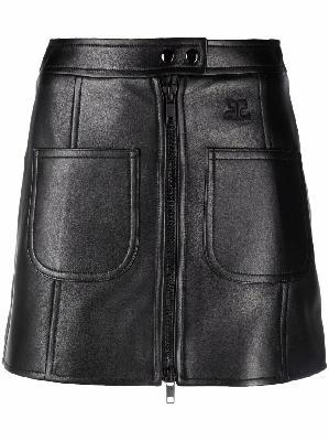 Courrèges leather mini skirt