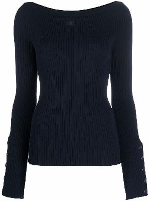 Courrèges logo rib-knit fitted jumper