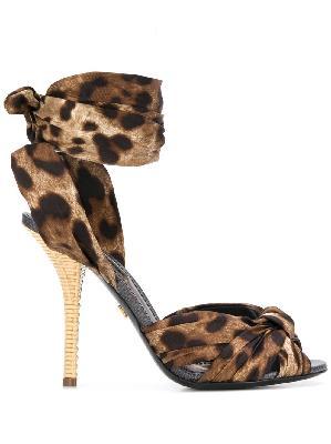 Dolce & Gabbana leopard print tie fastening sandals