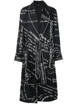 Dolce & Gabbana logo print silk gown