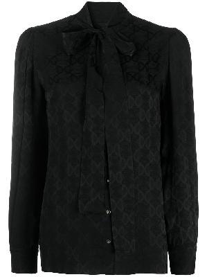 Dolce & Gabbana pussy bow DG logo jacquard shirt