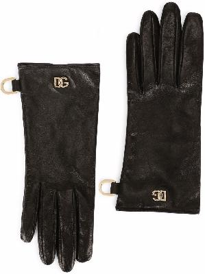 Dolce & Gabbana short leather logo-plaque gloves