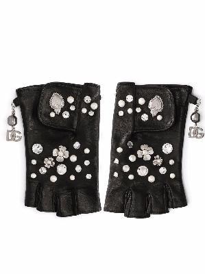 Dolce & Gabbana flower-applique lambskin fingerless gloves