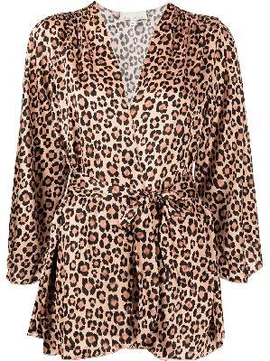 Fleur Du Mal angel sleeve leopard-print robe
