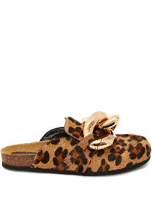 JW Anderson Chain Loafer leopard print mules