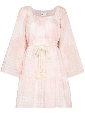 Lisa Marie Fernandez tie-dye check belted dress