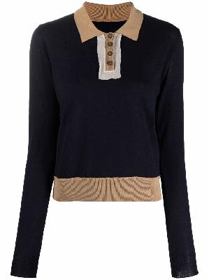 Maison Margiela contrast-collar knitted top