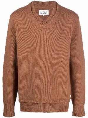 Maison Margiela distressed-trim four-stitch knitted jumper