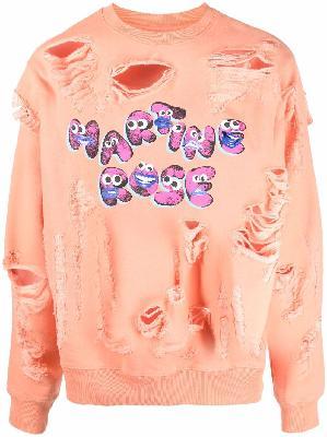 Martine Rose distressed logo-print sweatshirt