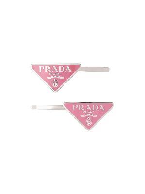 Prada logo-plaque hair slides