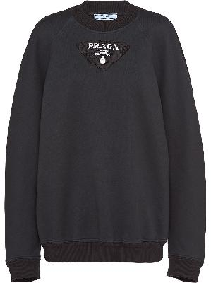 Prada logo-patch crew-neck sweatshirt