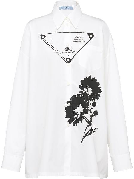 Prada graphic-print poplin shirt
